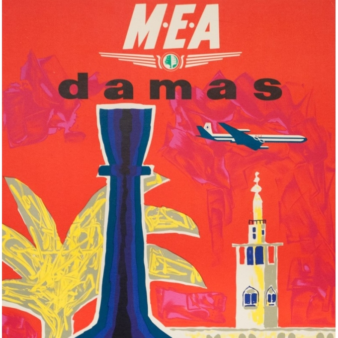 Affiche ancienne de voyage - Auriac - Circa 1960 - Damas Middle East Air Lines MEA - 80 par 53 cm - 2