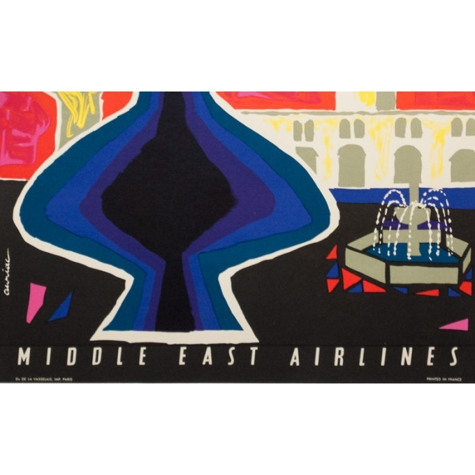 Vintage travel poster - Auriac - Circa 1960 - Damas Middle East Air Lines MEA - 31.5 by 20.9 inches - 3