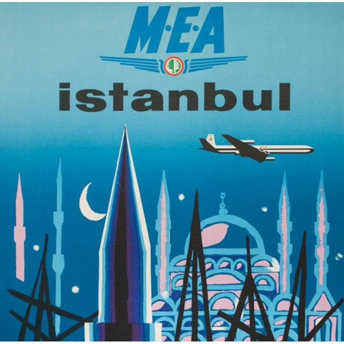 Vintage travel poster - Auriac - Circa 1960  - Istanbul Middle East Air Lines MEA - 31.5 by 20.9 inches - 2