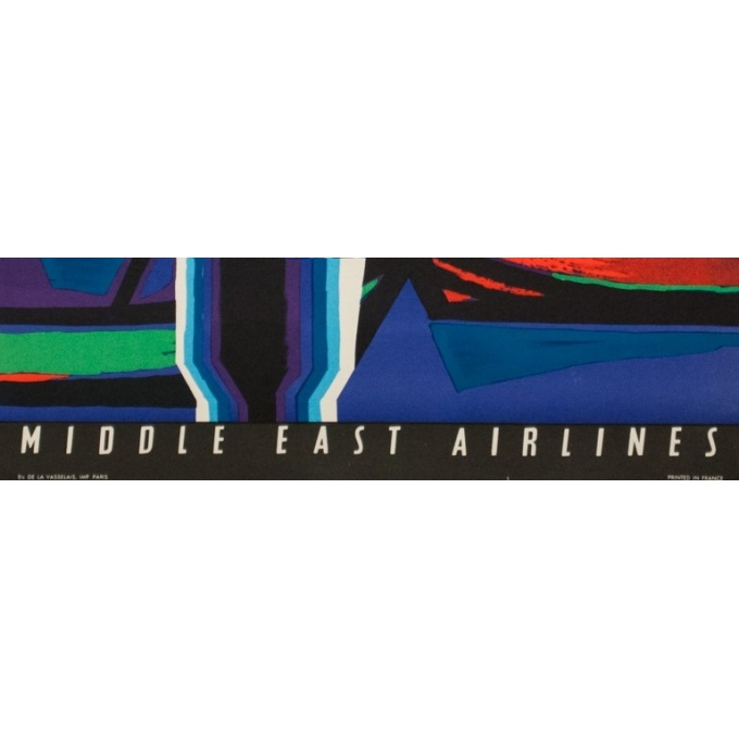Vintage travel poster - Auriac - Circa 1960  - Istanbul Middle East Air Lines MEA - 31.5 by 20.9 inches - 3