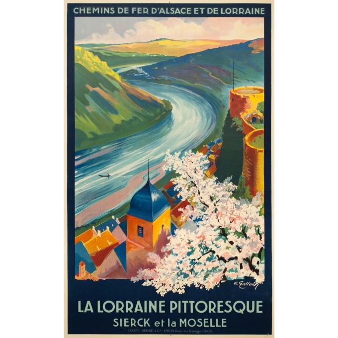 Affiche ancienne de voyage - A. Galland - Circa 1925 - La Lorraine Pittoresque Sierck Et La Moselle - 100 par 62 cm