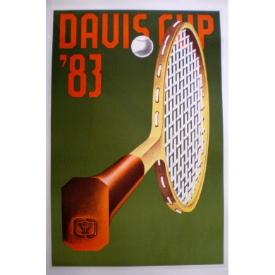 Original poster of the Davis Cup 1983. Elbé Paris.