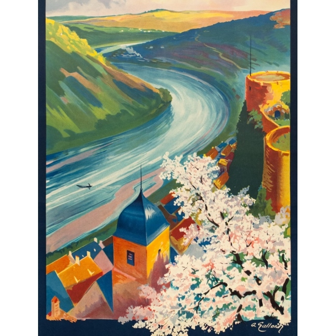 Vintage travel poster - A. Galland - Circa 1925 - La Lorraine Pittoresque Sierck Et La Moselle - 39.4 by 24.4 inches - 2