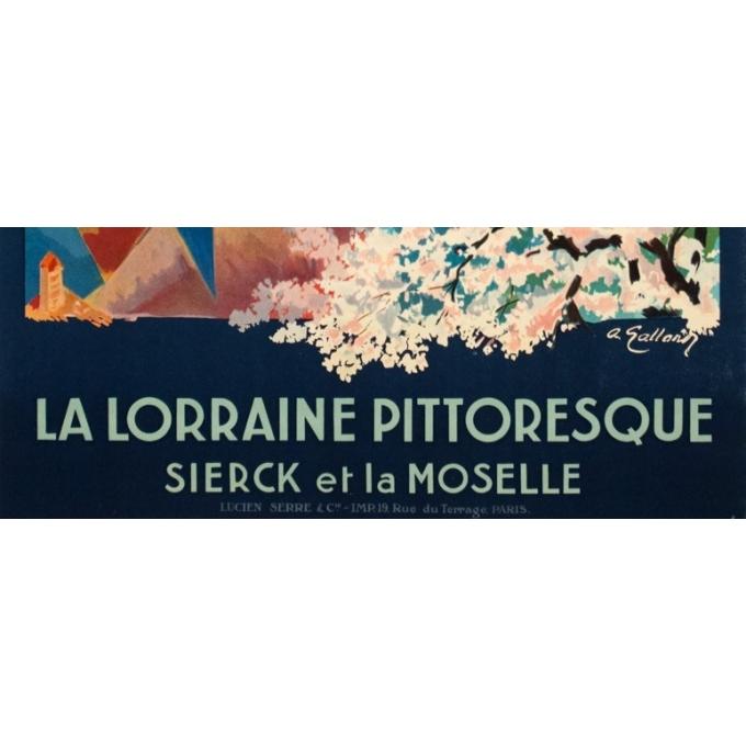 Affiche ancienne de voyage - A. Galland - Circa 1925 - La Lorraine Pittoresque Sierck Et La Moselle - 100 par 62 cm - 3
