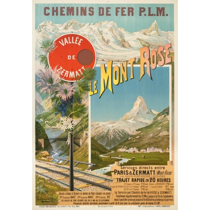 Affiche ancienne de voyage - Hugo d'Alési - Circa 1900 - Le Mont Rose Vallée De Zermatt - 106.5 par 74 cm