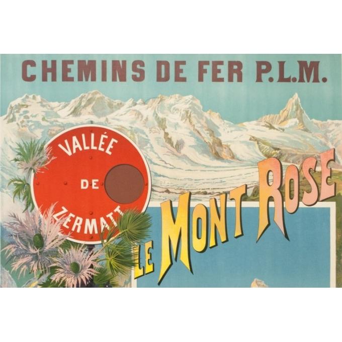 Affiche ancienne de voyage - Hugo d'Alési - Circa 1900 - Le Mont Rose Vallée De Zermatt - 106.5 par 74 cm - 2