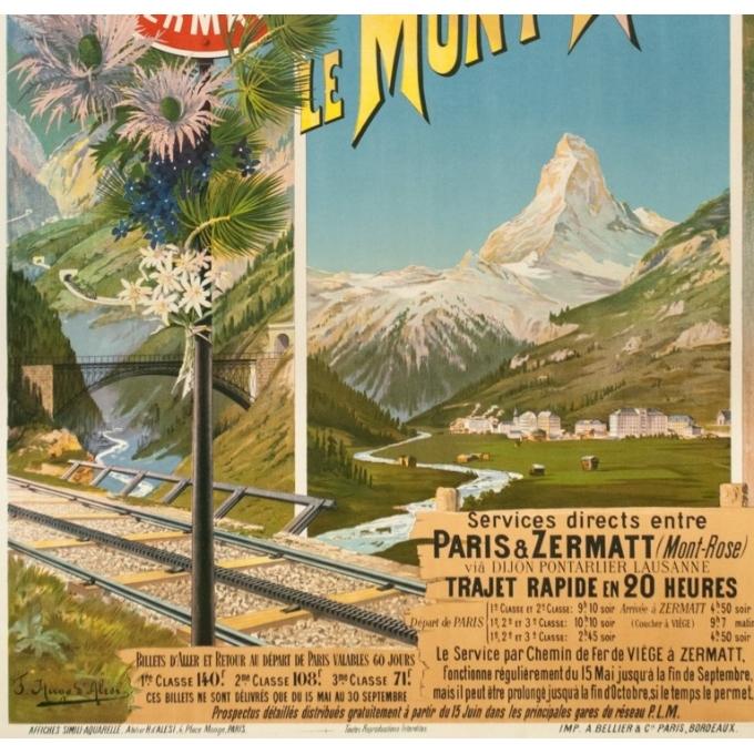 Affiche ancienne de voyage - Hugo d'Alési - Circa 1900 - Le Mont Rose Vallée De Zermatt - 106.5 par 74 cm - 3
