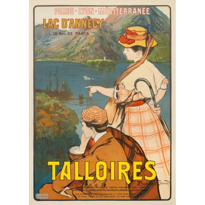 Affiche ancienne de voyage - A.Besnard - 1900 - Lac D'Annecy Talloires - 107 par 76 cm