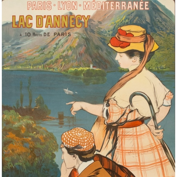 Vintage travel poster - A.Besnard - 1900 - Lac D'Annecy Talloires - 42.1 by 29.9 inches - 2
