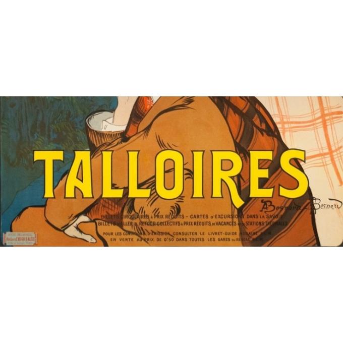 Affiche ancienne de voyage - A.Besnard - 1900 - Lac D'Annecy Talloires - 107 par 76 cm - 3