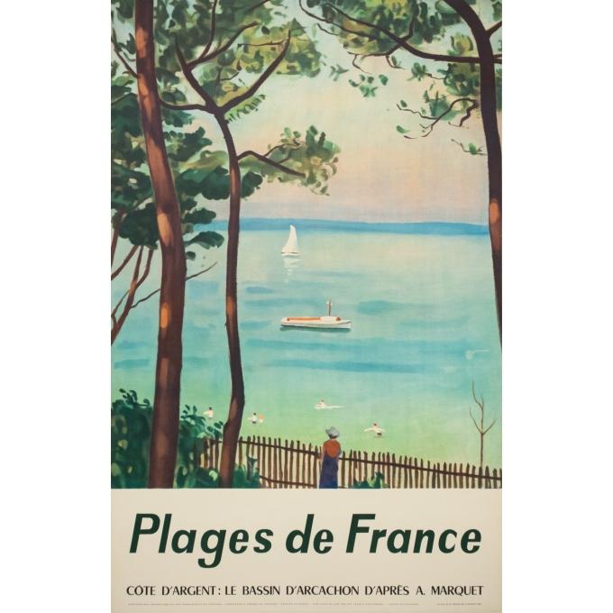 Affiche ancienne de voyage - d'après Marquet - Circa 1950 - Plages De France Bassin D'Arcachon - 99 par 63 cm