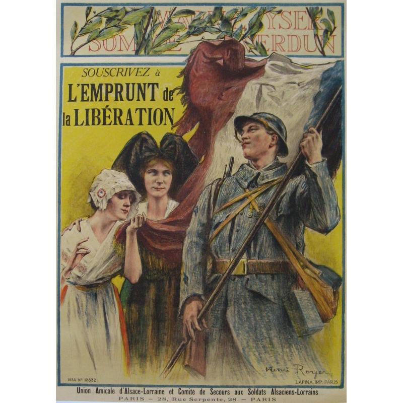 Affiche Souscrivez à l'emprunt de la libération Alsace-Lorraine. Elbé Paris.