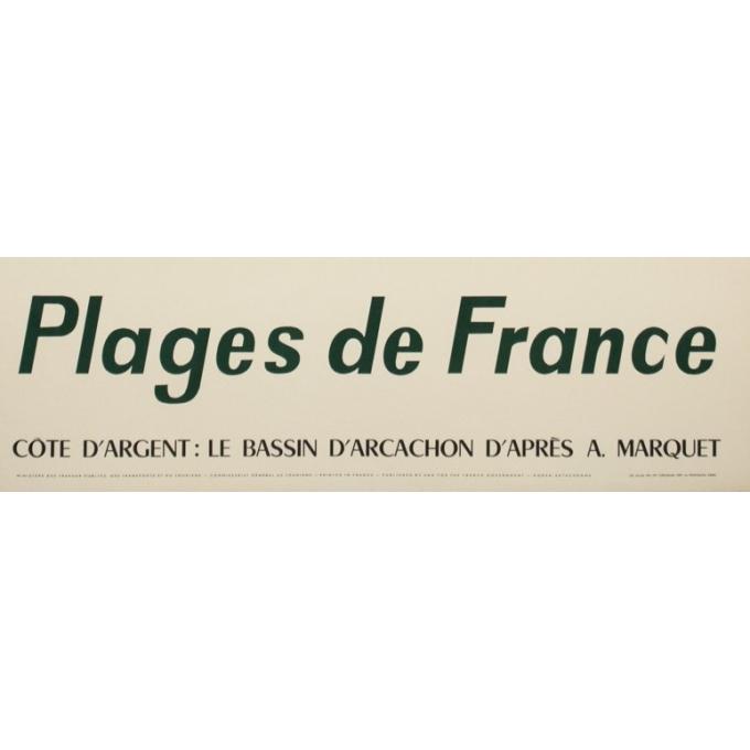 Affiche ancienne de voyage - d'après Marquet - Circa 1950 - Plages De France Bassin D'Arcachon - 99 par 63 cm - 3