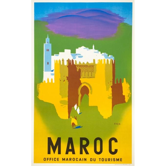 Affiche ancienne de voyage - Even - Circa 1950 - Maroc Office Marocain Du Tourisme - 101 par 62 cm