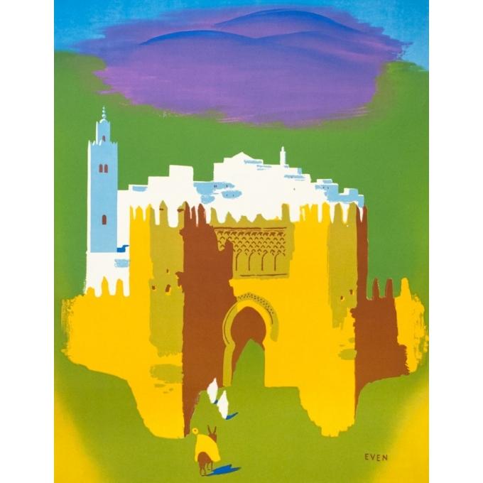 Affiche ancienne de voyage - Even - Circa 1950 - Maroc Office Marocain Du Tourisme - 101 par 62 cm - 2