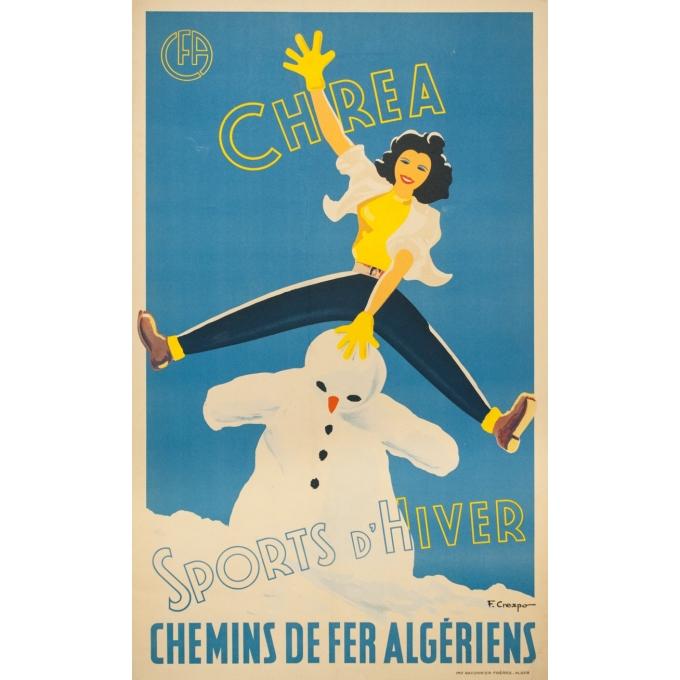 Affiche ancienne de voyage - F.Crespo - Circa 1950 - Chrea Sports d'Hiver Chemins de Fer Algériens - 100 par 61 cm