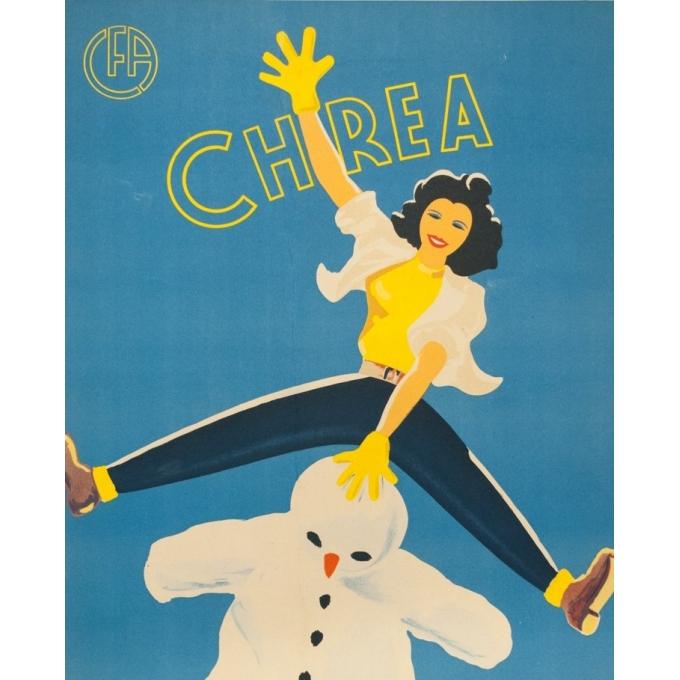 Affiche ancienne de voyage - F.Crespo - Circa 1950 - Chrea Sports d'Hiver Chemins de Fer Algériens - 100 par 61 cm - 2
