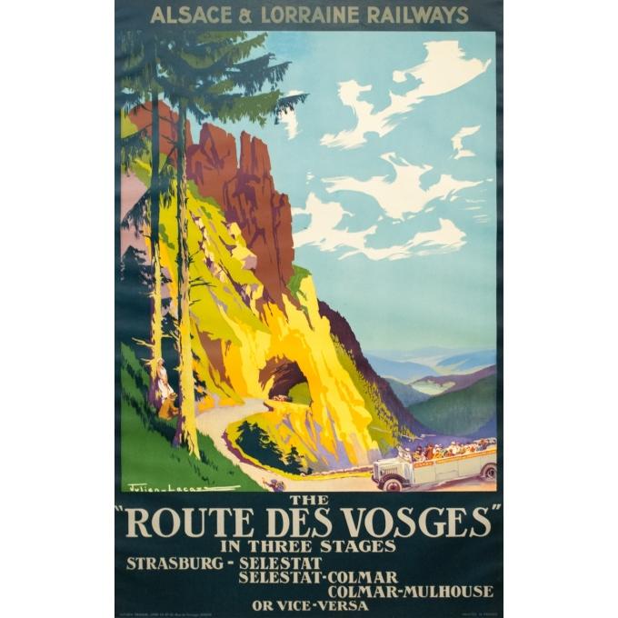 Affiche ancienne de voyage - Julien Lacaze - Circa 1920 - La Route Des Vosges - 100 par 63 cm