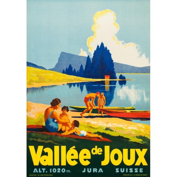 Affiche ancienne de voyage - Anonyme - Circa 1930 - Vallée De Joux Suisse - 100 par 70 cm