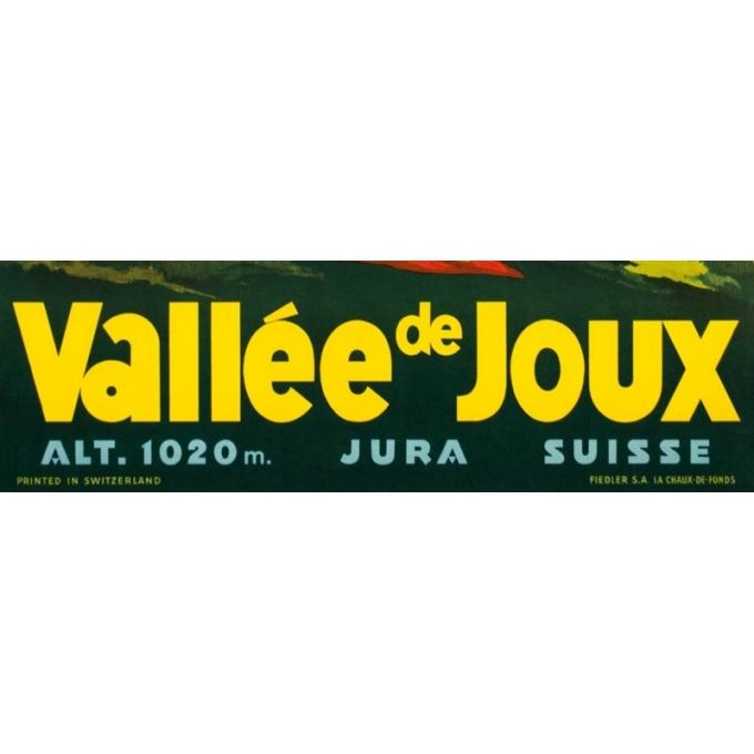 Affiche ancienne de voyage - Anonyme - Circa 1930 - Vallée De Joux Suisse - 100 par 70 cm - 3