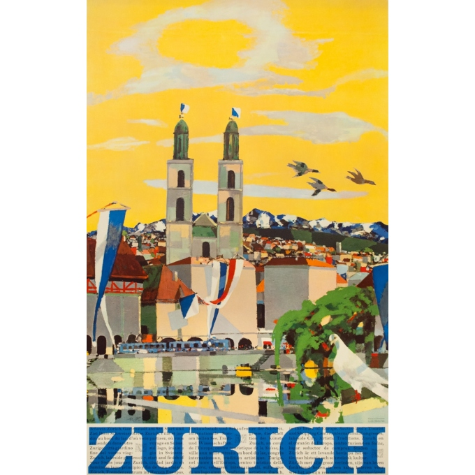 Vintage travel poster - N.H - Circa 1950 - Zurich Suisse - 40.2 by 25.6 inches
