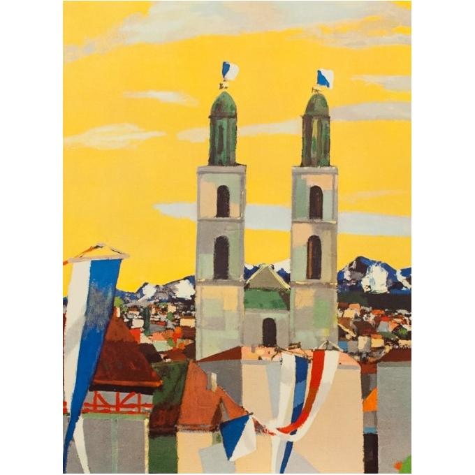 Affiche ancienne de voyage - N.H - Circa 1950 - Zurich Suisse - 102 par 65 cm - 2