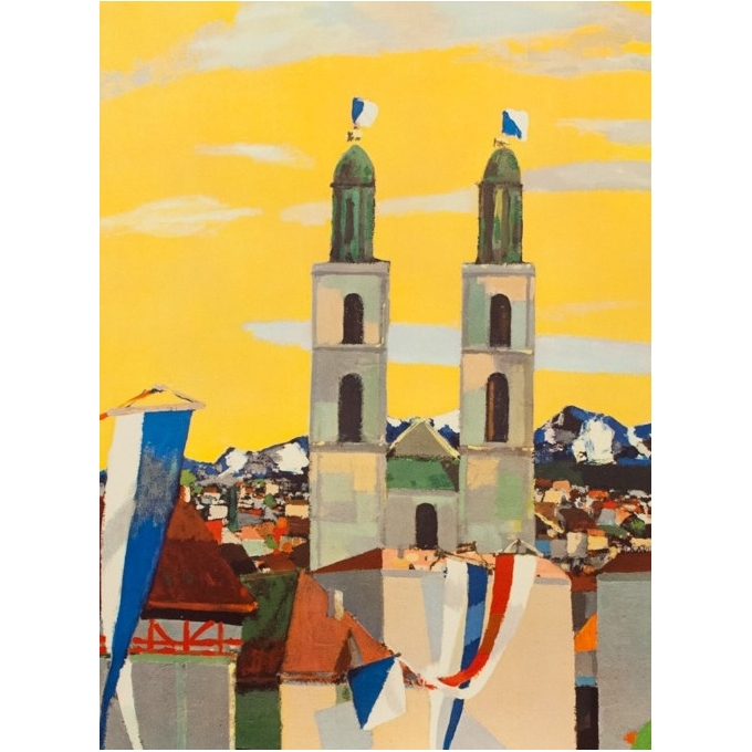 Vintage travel poster - N.H - Circa 1950 - Zurich Suisse - 40.2 by 25.6 inches - 2