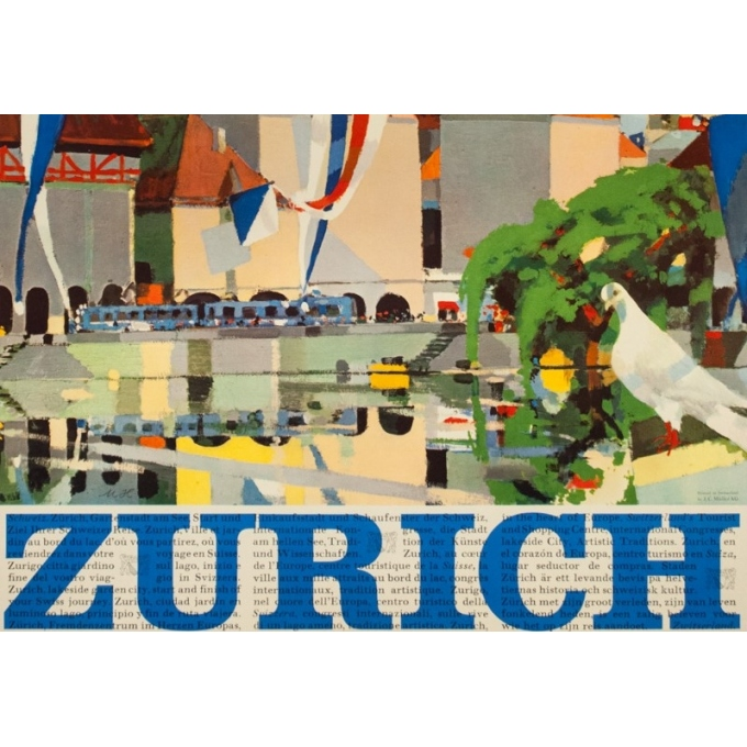 Vintage travel poster - N.H - Circa 1950 - Zurich Suisse - 40.2 by 25.6 inches - 3