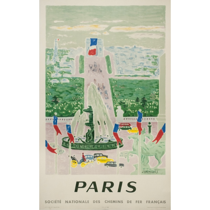 Affiche ancienne de voyage - J.Cavailles - 1957 - Paris SNCF Champs Elysées - 100 par 62 cm