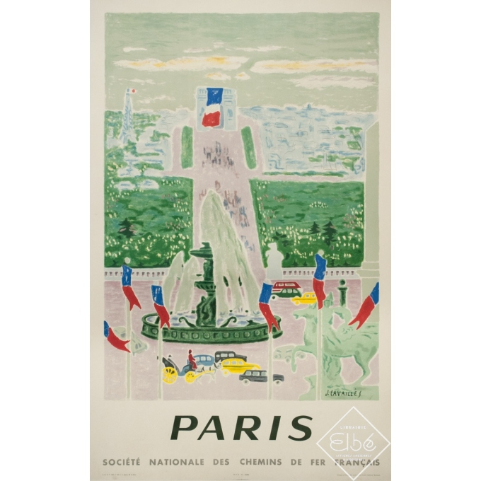 Vintage travel poster - J.Cavailles - 1957 - Paris SNCF Champs Elysées - 39.4 by 24.4 inches