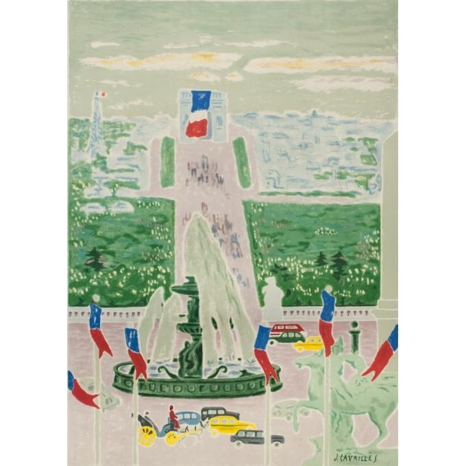 Affiche ancienne de voyage - J.Cavailles - 1957 - Paris SNCF Champs Elysées - 100 par 62 cm - 2