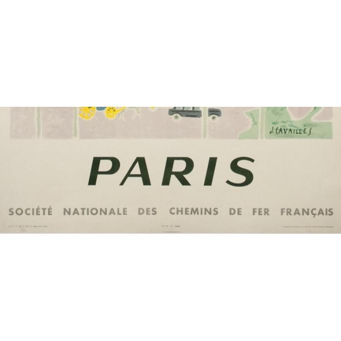 Affiche ancienne de voyage - J.Cavailles - 1957 - Paris SNCF Champs Elysées - 100 par 62 cm - 3