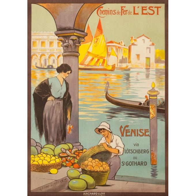 Affiche ancienne de voyage - E.Louis Lessieux - Circa 1920 - Venise - 105 par 75 cm