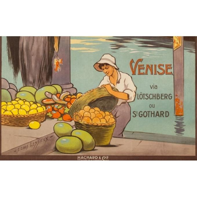 Affiche ancienne de voyage - E.Louis Lessieux - Circa 1920 - Venise - 105 par 75 cm - 3