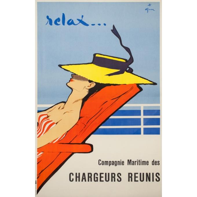 Affiche ancienne de voyage - Gruau - Circa 1950 - Relax Chargeurs Réunis - 98 par 63 cm