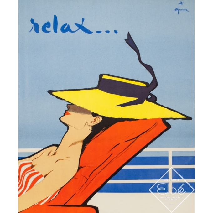 Affiche ancienne de voyage - Gruau - Circa 1950 - Relax Chargeurs Réunis - 98 par 63 cm - 2