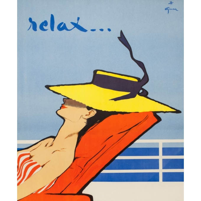 Vintage travel poster - Gruau - Circa 1950 - Relax Chargeurs Réunis - 38.6 by 24.8 inches - 2