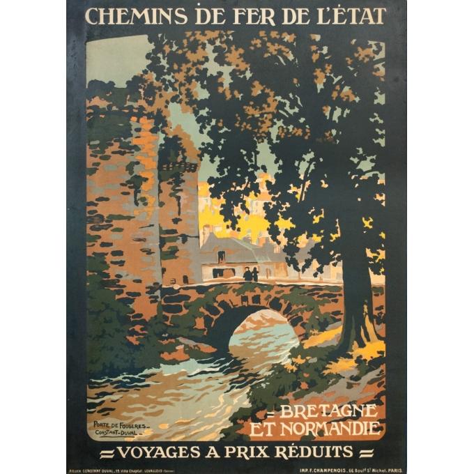 Affiche ancienne de voyage - Constant Duval - Circa 1920 - Fougères Bretagne - 106 par 75 cm
