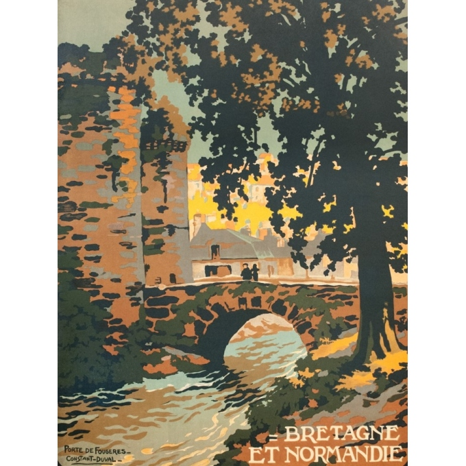 Vintage travel poster - Constant Duval - Circa 1920 - Fougères Bretagne - 41.7 by 29.5 inches - 2