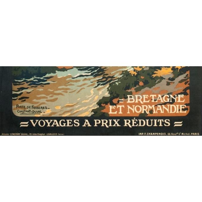 Affiche ancienne de voyage - Constant Duval - Circa 1920 - Fougères Bretagne - 106 par 75 cm - 3