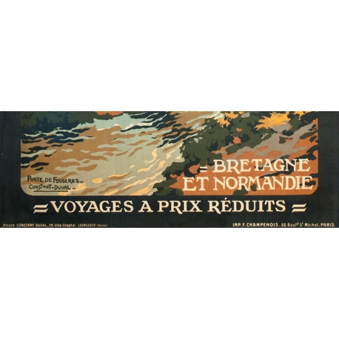 Vintage travel poster - Constant Duval - Circa 1920 - Fougères Bretagne - 41.7 by 29.5 inches - 3