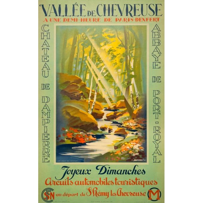 Affiche ancienne originale - Falcucci - 1939 - La Vallée De Chevreuse - 100 par 62.5 cm