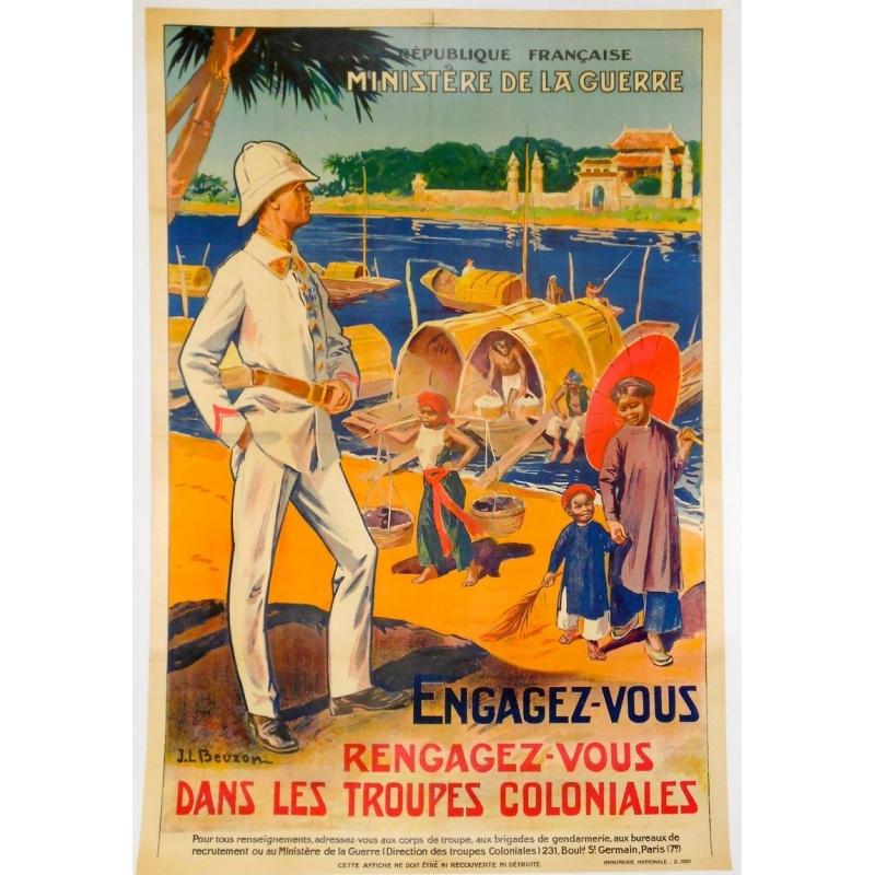 Original french poster Engagez-vous Rengagez-vous dans les troupes coloniales, signed by Beuzon. Elbé Paris.
