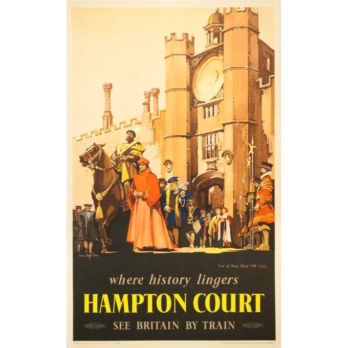 Affiche ancienne de voyage - C. C Aude Bluckee - Circa 1920 - Hampton Court Londres - 102 par 63 cm