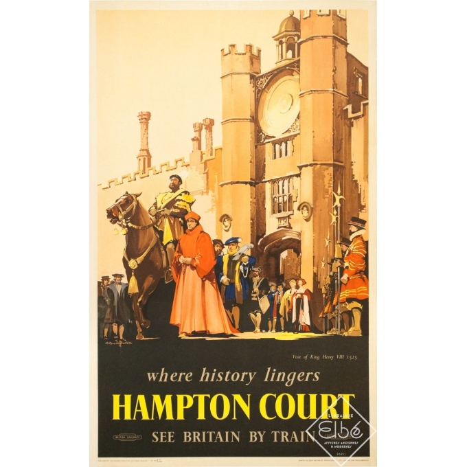 Vintage travel poster - C. C Aude Bluckee - Circa 1920 - Hampton Court Londres - 40.2 by 24.8 inches