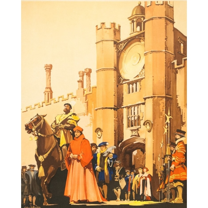 Vintage travel poster - C. C Aude Bluckee - Circa 1920 - Hampton Court Londres - 40.2 by 24.8 inches - 2