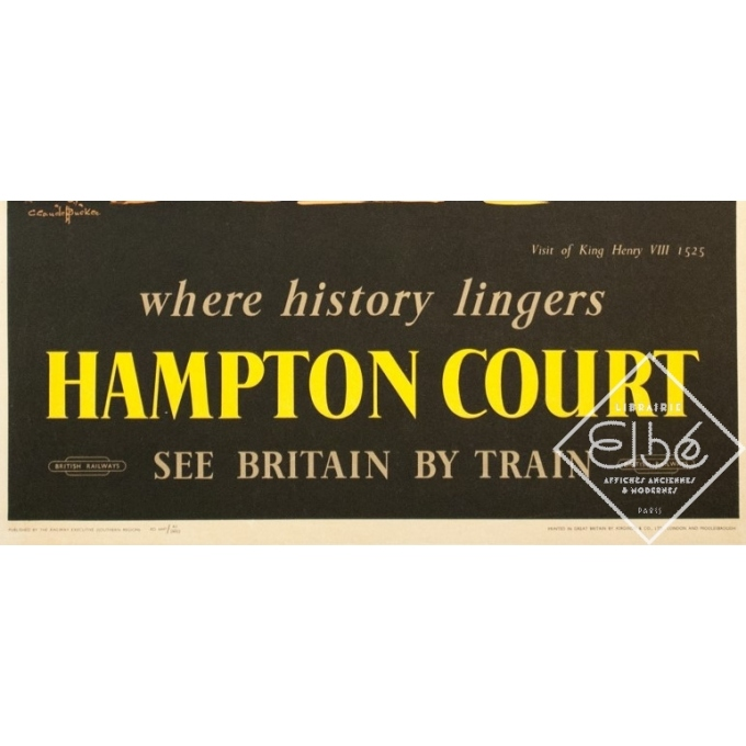 Affiche ancienne de voyage - C. C Aude Bluckee - Circa 1920 - Hampton Court Londres - 102 par 63 cm - 3