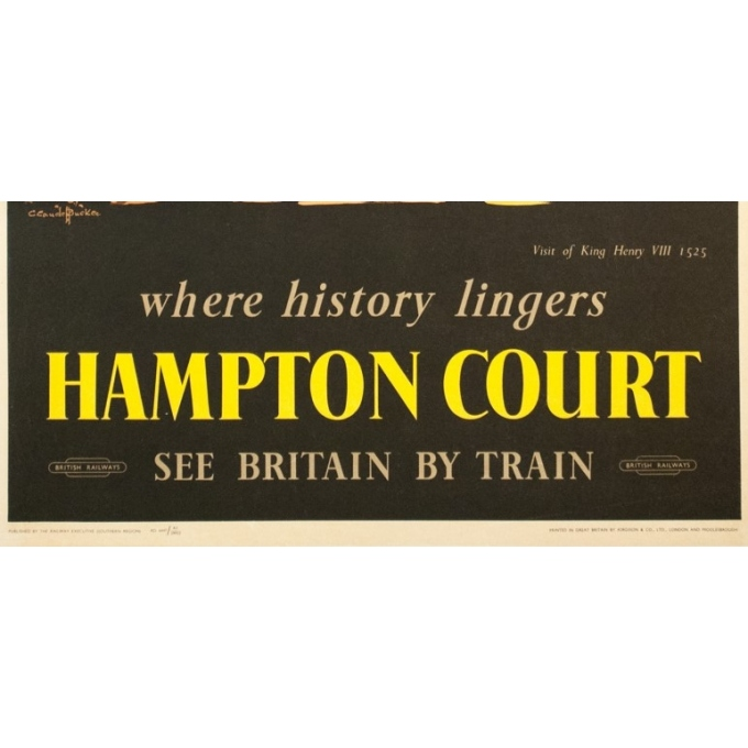 Vintage travel poster - C. C Aude Bluckee - Circa 1920 - Hampton Court Londres - 40.2 by 24.8 inches - 3