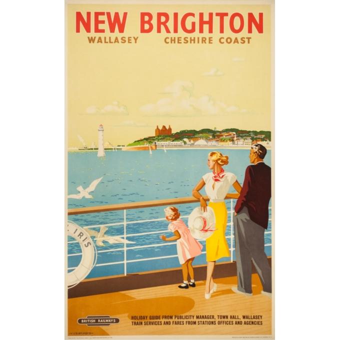 Affiche ancienne de voyage - V.L Danvers - Circa 1950 - New Brighton - 103 par 63 cm