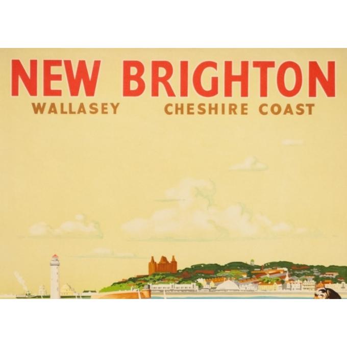 Affiche ancienne de voyage - V.L Danvers - Circa 1950 - New Brighton - 103 par 63 cm - 2